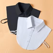 Women Cotton Adult Detachable Lapel Shirt Fake Collar Fashion Solid Color False Blouse Neckwear Clot