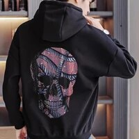 winter oversized new casual sweatshirt mens hoodie thickened autumn hoody long sleeved design jacket rhinestone skull h593