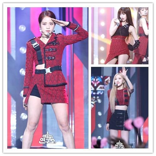 kpop Blackpink Jisoo Jennie Lisa stage show same sexy Dress lady skirt shorts and fashion tshirt tops coat women Two-piece set