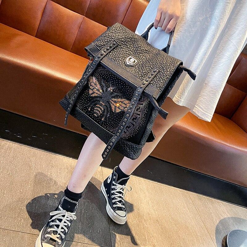 Rhinestone Women's Backpack Travel Sac A Dos Bee Print Shoulder School Bag Rivet Luxury Mochila Mujer Designer Bolsa Feminina