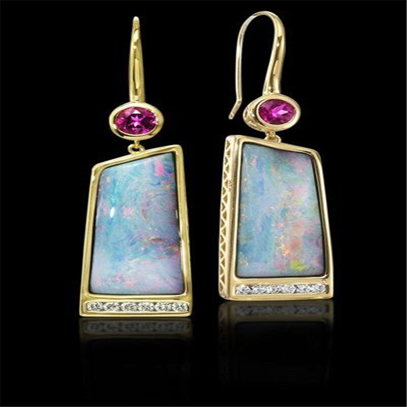 Pedra colorida Brincos de Ouro Arte Apresenta para As Mulheres Noivado Jóias Gota Earringsboucles d oreille S3P031 femme