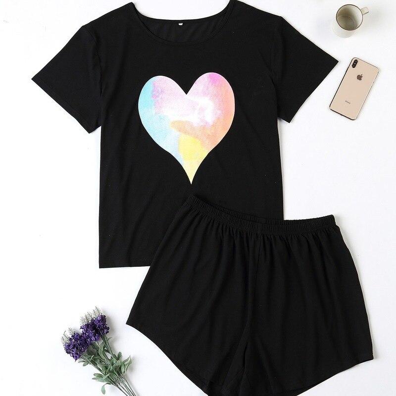 Женский летний симпатичный пижамный комплект 4XL, пижама с принтом в виде сердца и коротким рукавом, мягкая Пижама, одежда для сна, осенняя до...