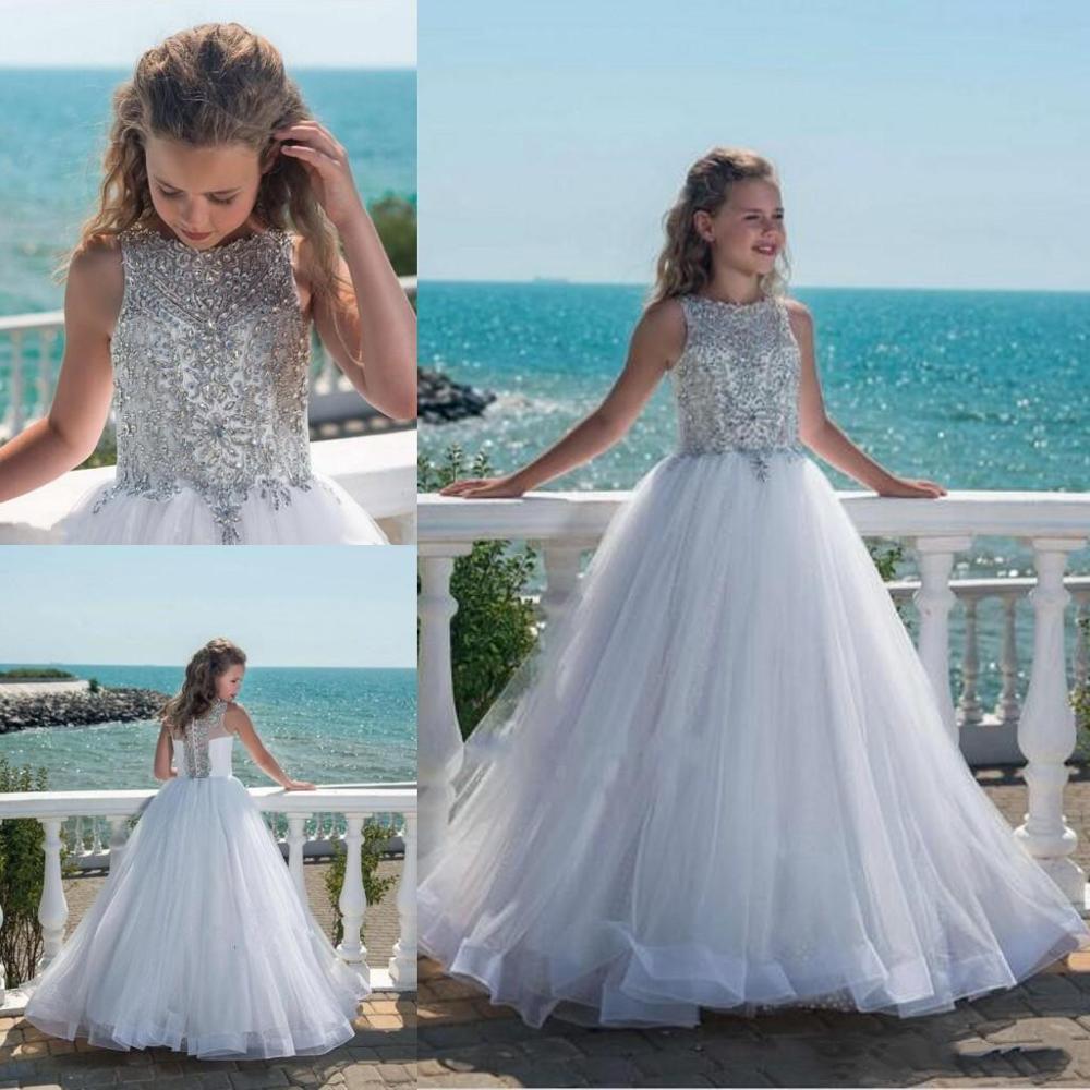 Sparkly Princess Girls Pageant Dress Ball Gowns Beaded Crystal Tulle Floor Length Beach Flower Girl Dresses For Weddings Custom
