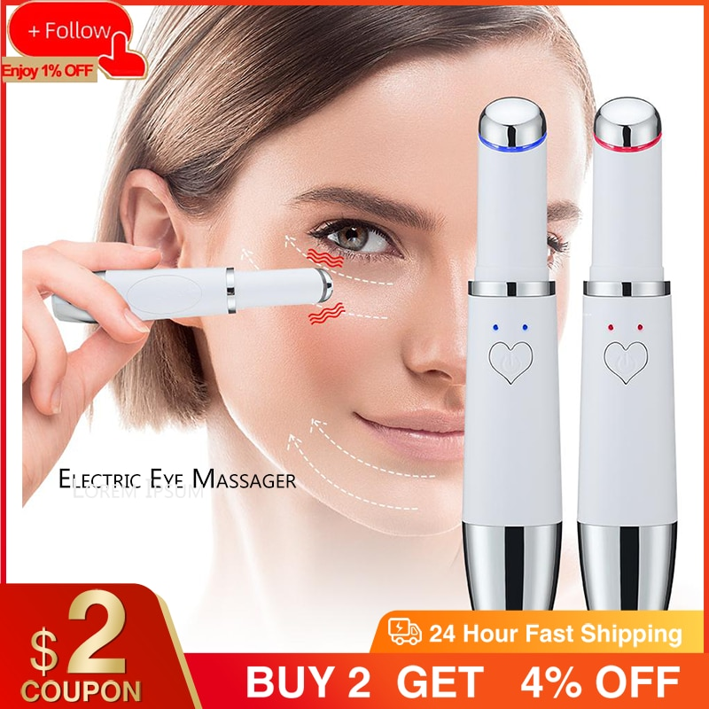 Electric Eye Massager Anti-Wrinkle Wand Pen 42℃ Heat RF Vibration Device Dark Circle Puffiness Eye Care Fatigue USB Rechargeable