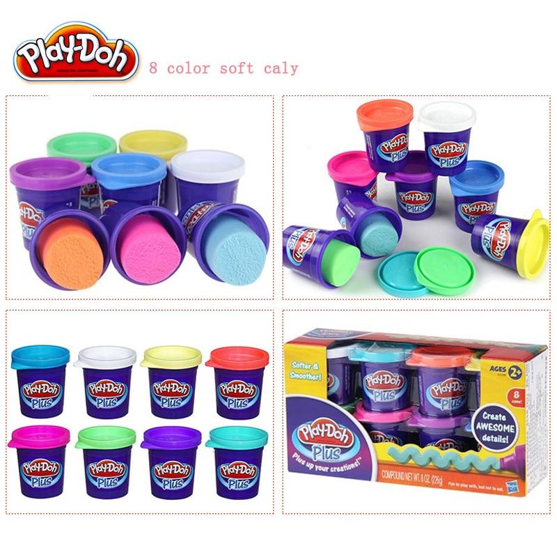 Hasbro jouer Doh Plus jouer pâte de boue douce 8 couleurs enfants jouets éducatifs bricolage pâte à modeler