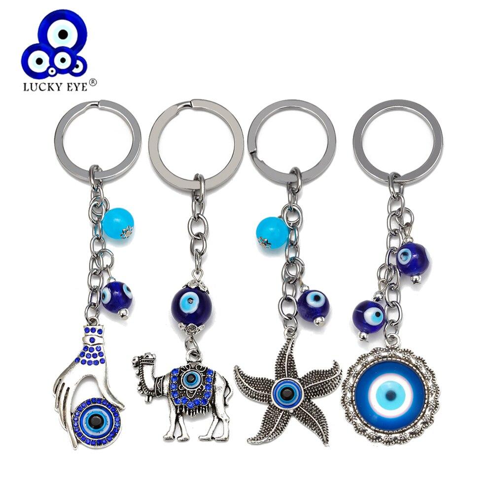 Счастливый глаз верблюд Морская звезда Шарм злой брелок для ключей в форме глаза сплав Серебряный цвет кольцо автомобильный брелок держатель ювелирные изделия подарок для женщин мужчин