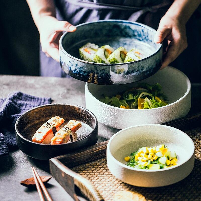 اليابانية الإبداعية طبق سيراميك طبق للسلطة سميكة وعاء الحساء الحساء السلطانية مطعم طبق عصري طاسة عميقة سلطانية للفاكهة كبيرة