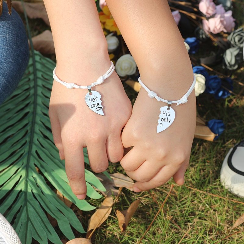 Couple Bracelet 2pcs/set Adjustable Rope Chain Heart-shaped Metal Heart Braiding Couple Bracelets For Men Women Gifts Variety