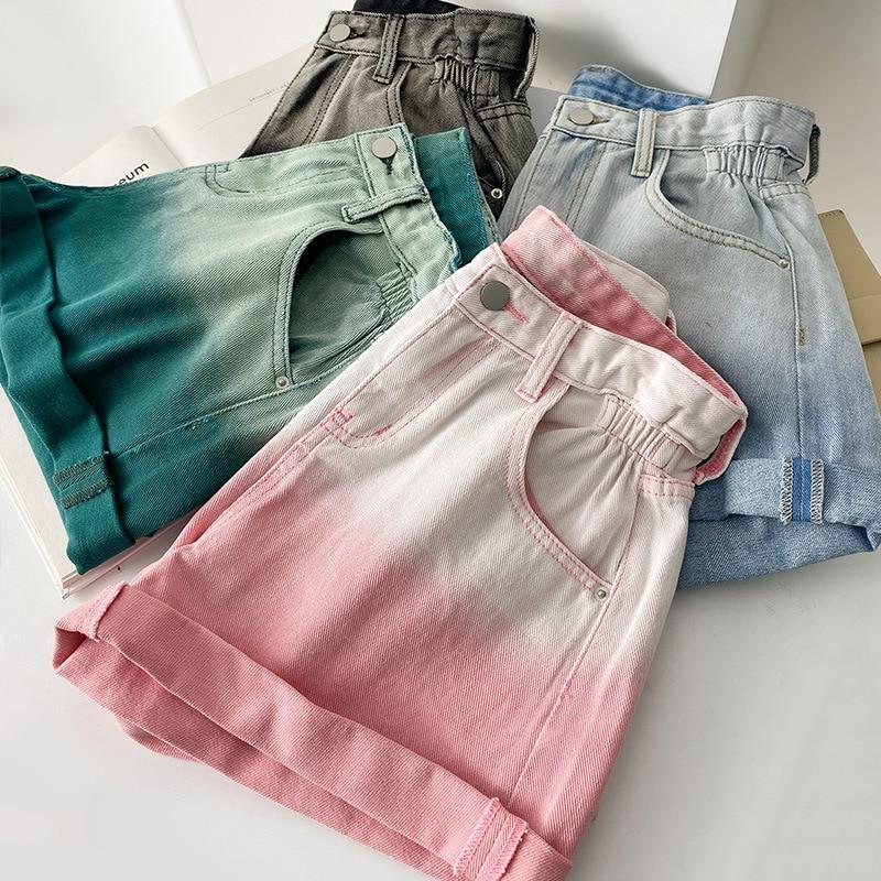 2021 Summer Women Jeans Shorts High Waisted Trendy Female Hot Short Jeans Wide Leg Elastic Waist Vintage High Waist Shorts Women