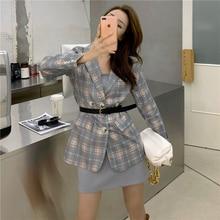 2 PCS women plaid blazer coat + strap dress 5213#