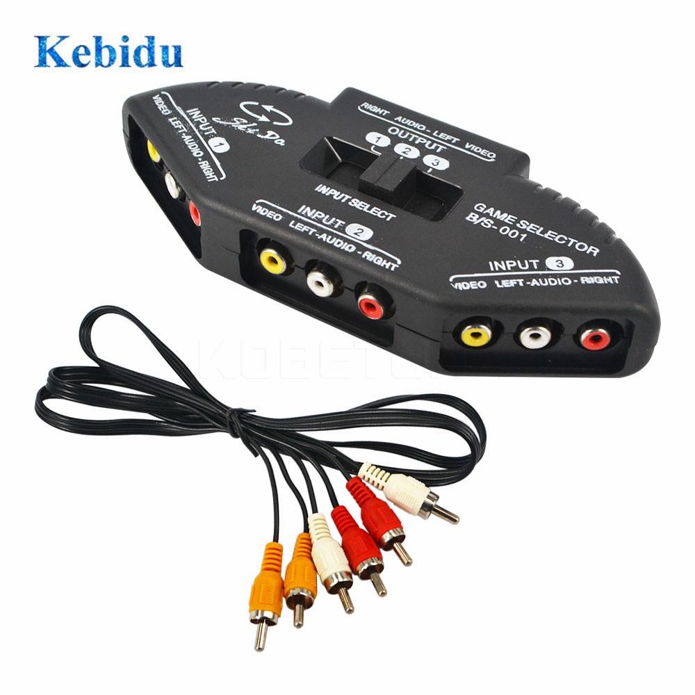 KEBIDU 3 портовый видео AV переключатель разветвитель Кабель AV RCA Hub игровой коммутатор для ТВ DVDP4PM кабель преобразователь RCA разветвитель коробка Кабели VGA      АлиЭкспресс