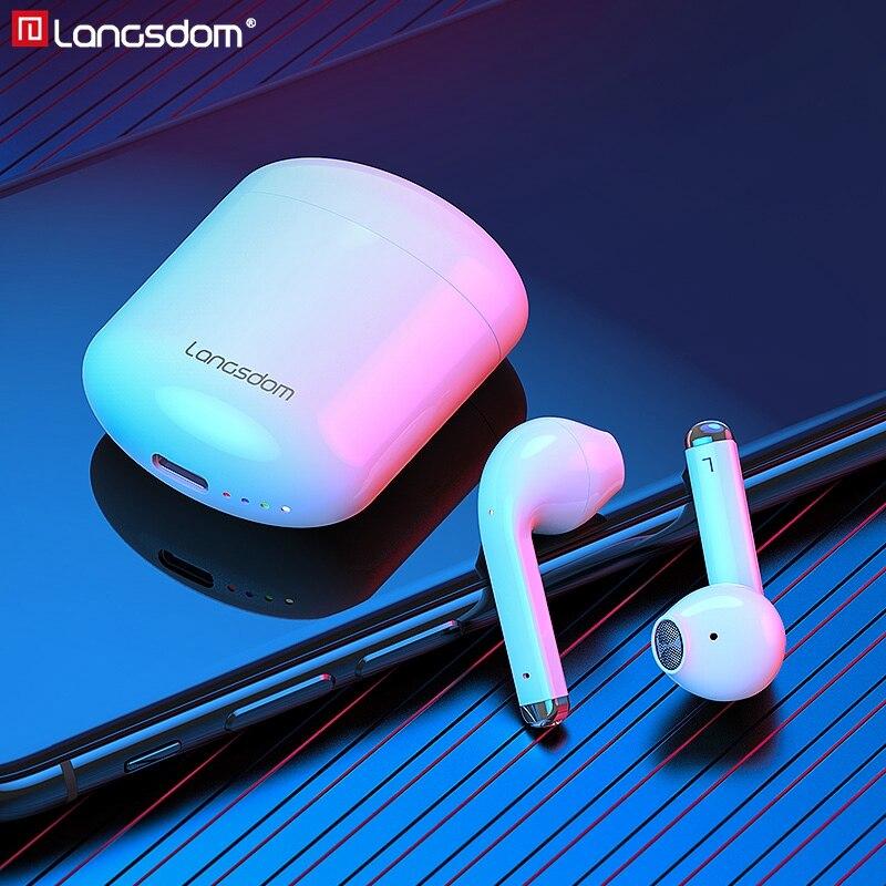 Langsdom سماعات لاسلكية حقيقية TWS بلوتوث متوافق مع 5.0 سماعات إلغاء الضوضاء سماعات أذن استريو مع ميكروفون مزدوج