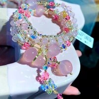 explosive pink chalcedony swarovski crystal sweet bracelets for women girls calabash pendant tassel austrian colored jewelry