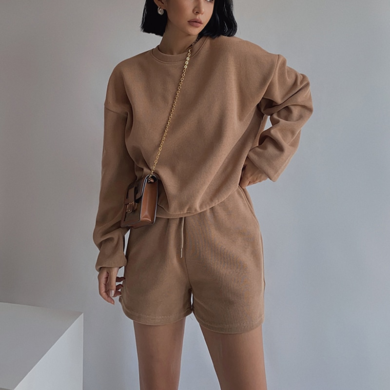 aliexpress.com - Women High Quality Hoodies Tracksuits 2 Piece Set Summer Autumn Sweatshirt + Sporting Shorts Outfit Solid Pants Suit