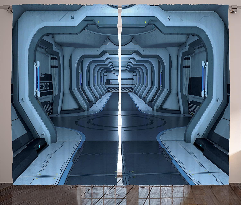 Cortinas del espacio exterior interior de la estación espacial sala de Control paso comunicación tecnología Base sala de estar dormitorio ventana cortina