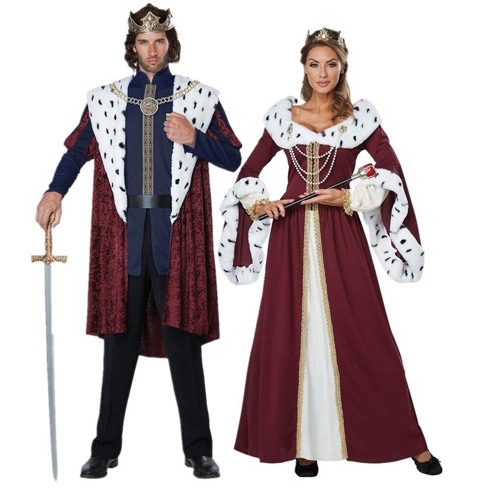 Fantasia de casal, dia das bruxas sexy real retro para casal fantasia do tribunal europeu vestido de festa de natal