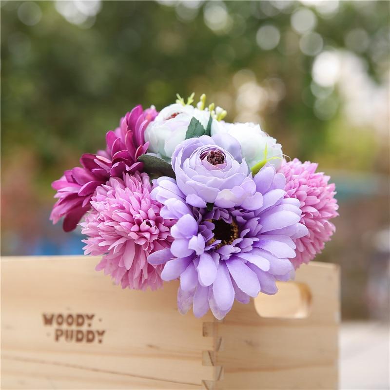 Boda ramo de la boda, flores artificiales ramos de novia Artificial accesorios de dama de honor boda ramo de flores