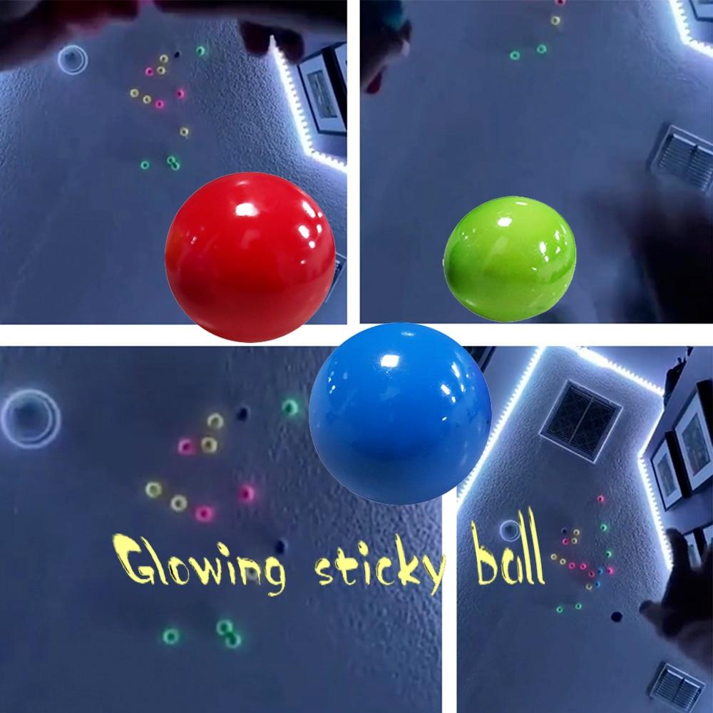 Новый Стик, светящийся шарик на стену, игрушка-антистресс, сквош, Рождественская клейкая мишень, мяч для снятия стресса, новинка, подарок для...
