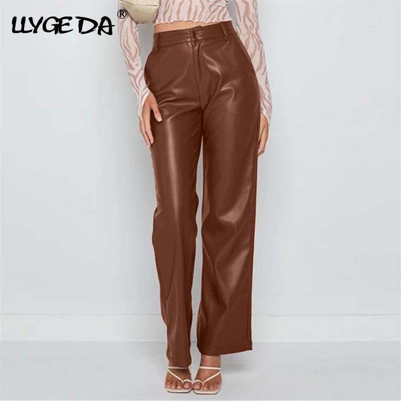 Коричневые штаны из искусственной кожи для женщин, с высокой талией, однотонные, с карманами, коричневые женские штаны, 2021, Осень-зима, модны...