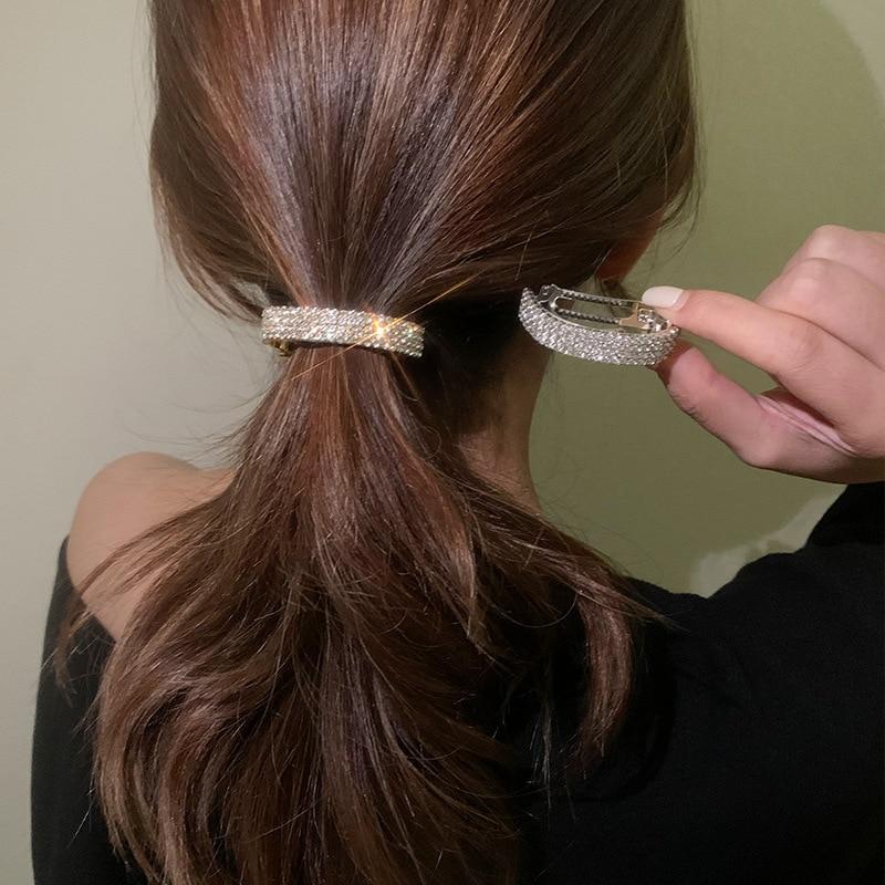 AliExpress - 2021 New Crystal Barrette Accessories Rhinestone Hairpin Hair Clip Hair Gifts Ponytail Buckle Women Hair Accessories Hairgrip