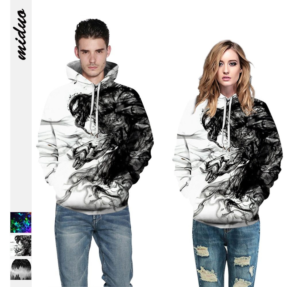 3D smoke ring poison graffiti Street Jacket abrigo de manga larga Sudadera con capucha hombres y mujeres partido pareja Pullover béisbol