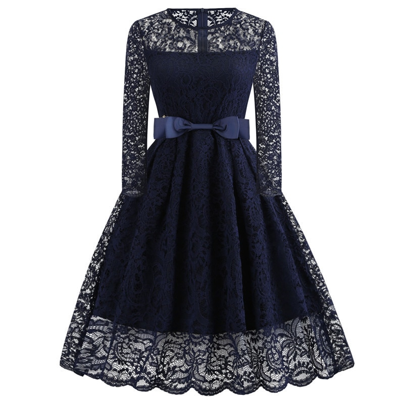 Elegante azul marino encaje Sexy cuello redondo De manga larga negro vestido De cóctel rodilla-longitud vestido De fiesta batas De Élégantes De cóctel