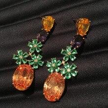 fashion luxury bohemian drop earring for women trendy high quality  three cubic zircon flower and orange drop oval