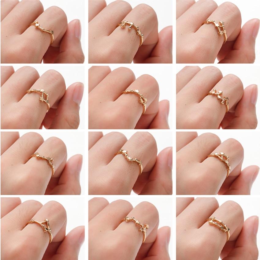 Anillos de constelación Cxwind libro Gemini Tauro cáncer Aries anillo señora boda compromiso mujeres moda cumpleaños joyería anillos