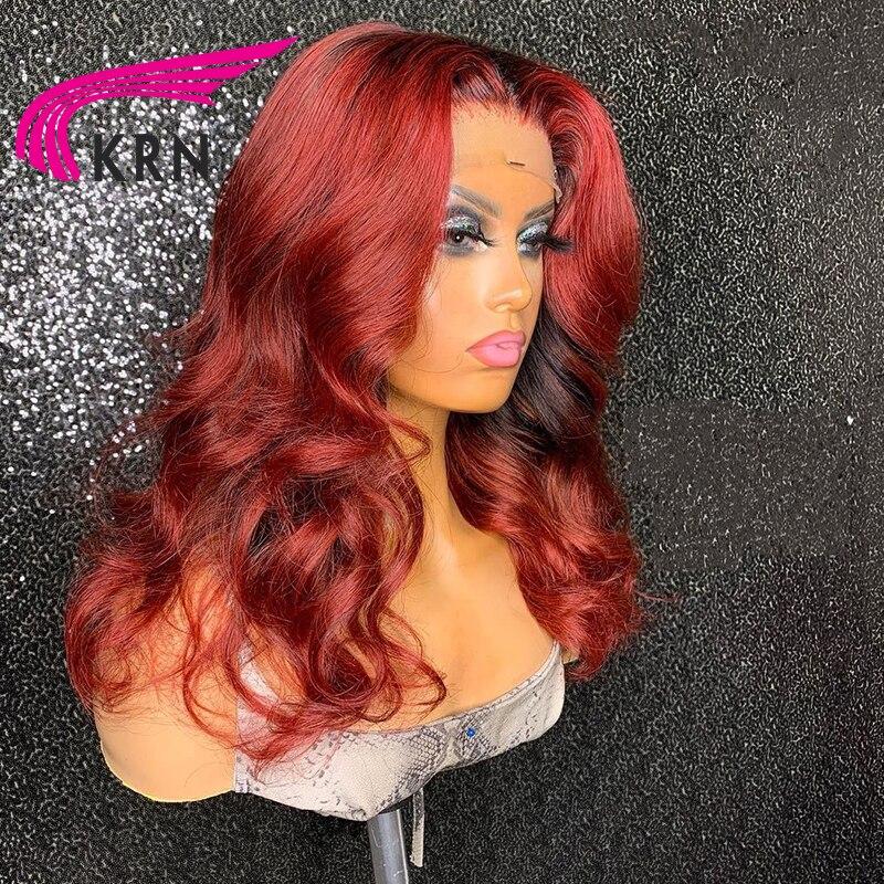 do laço frontal perucas para o cabelo humano vermelho ombre perucas