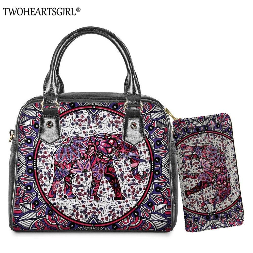Twoheartsgirl Mandala estampado de elefante mujeres Pu bolso de cuero pequeño bolso de hombro de lujo de las mujeres bolsos de mano con cartera