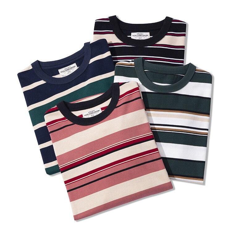 Футболка мужская в полоску, брендовая утепленная рубашка с длинным рукавом и круглым вырезом, повседневный модный уличный пуловер, осень