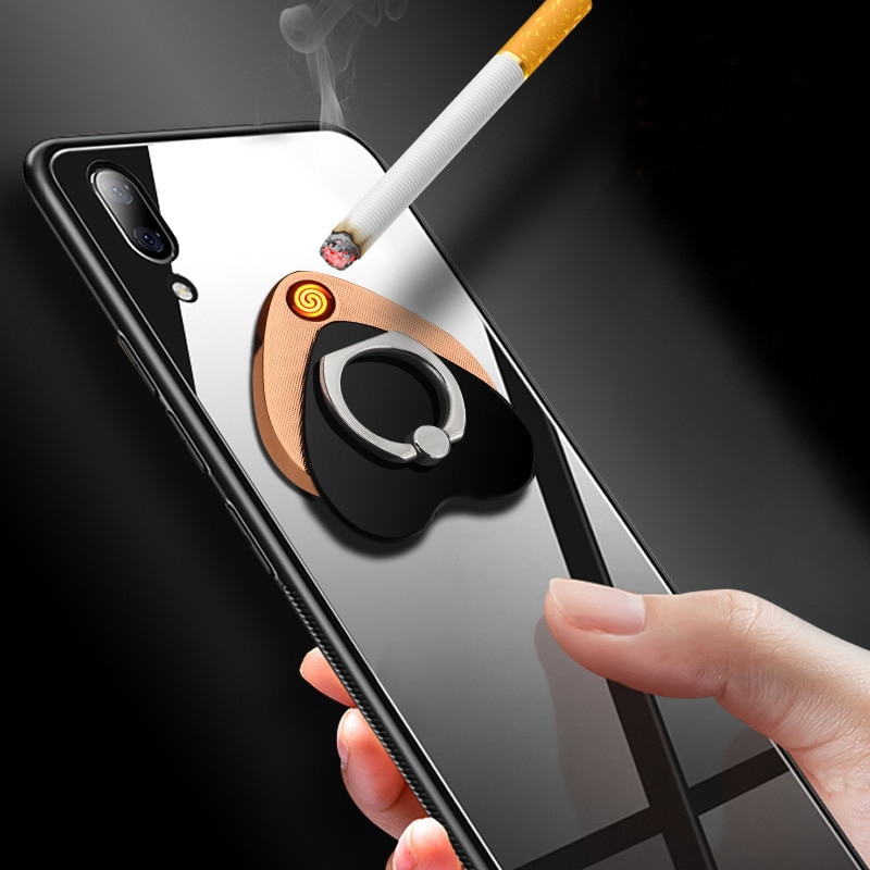 Cigarette Lighter Finger Ring Buckle Mobile Phone Bracket With Puncher USB Charging Lighter With Clock
