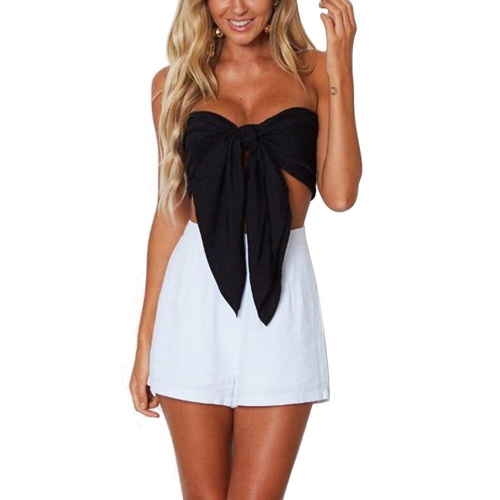 2020 Crop Top camisa de pecho de verano Sexy mujer encaje Streetwear playa Multiway Infinity Crop Tops Vintage camiseta camisa tipo vendaje ropa