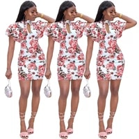 gl6006 ladies casual sexy mini dress springsummer slim hollow rose print ruffle sleeve dress