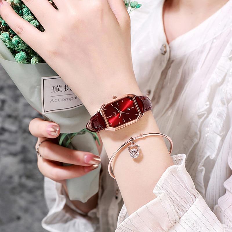 YUNAO Live Explosion Style Fashion Ladies Watch Trend Simple Casual Belt Calendar Women's Quartz Waterproof Watch 2021 New
