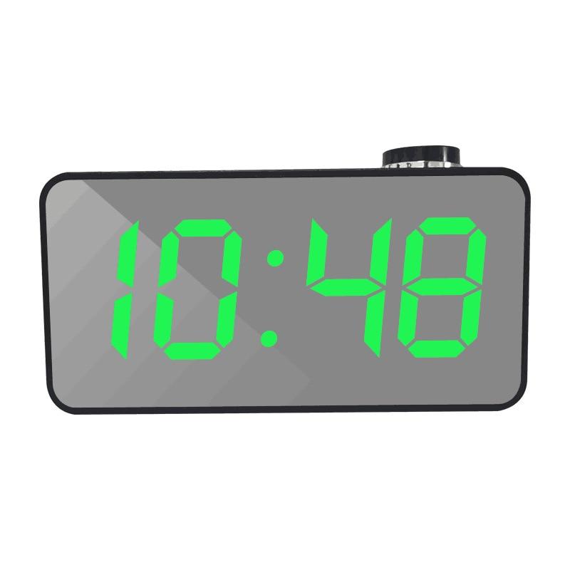 Espejo creativo LED despertador reloj multifunción LED maquillaje espejo reloj de un botón giratorio reloj despertador de noche