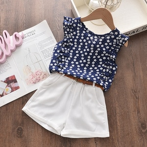 Girls Clothes Set 2021 Fashion Summer Kids Girls Suit Floral Sleeveless Top+Solid Short Pant Casual Children Clothing 3-7 Y
