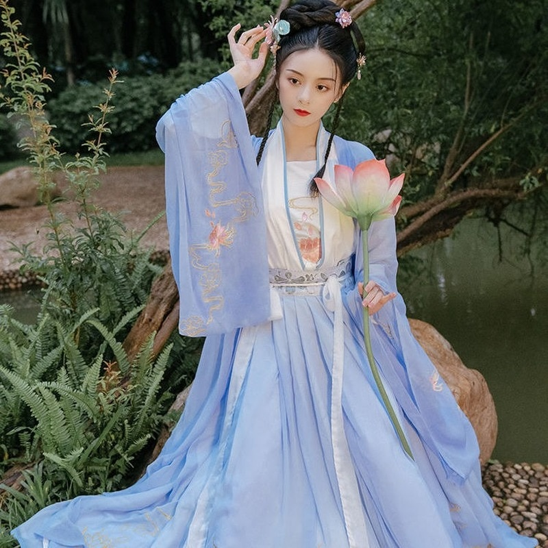 Hanfu فستان المرأة الصينية القديمة زي التقليدية الملابس الصينية للنساء الجنية نمط مهرجان أغنية سلالة ملابس الرقص