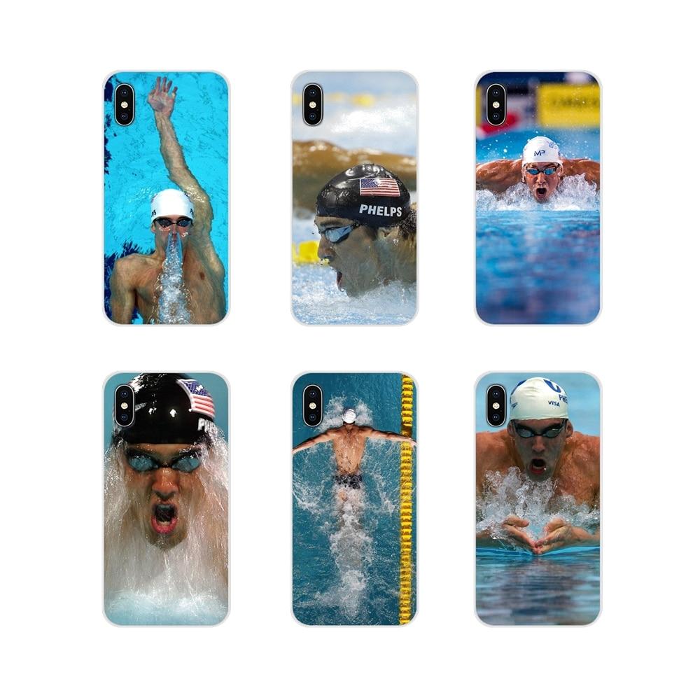 Accesorios fundas de teléfono para Xiaomi Redmi Note 3 4 5 6 7 8 Pro Mi Max Mix 2 3 2S pocofone F1 Michael Phelps natación