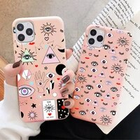 cartoon pink evil eye case for iphone 12 11 pro max 6s 7 8 plus se2020 xr xs max fashion soft tpu silicone back cover phone case
