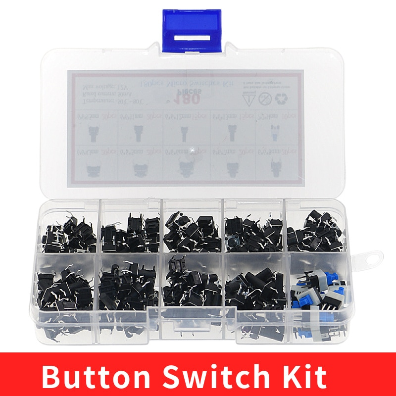 180PCS 10 Type 6*6 Light Micro Touch Switch Set Push Button Switch Kit Assortment Set DIY Tool Accessories 6x6 Keys Tact ON/OFF