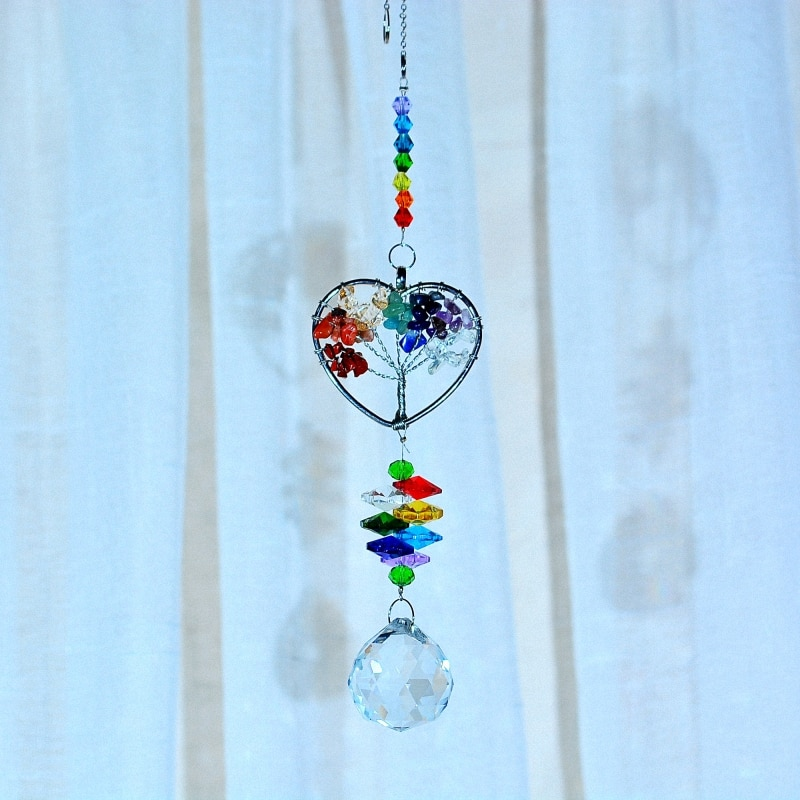 KAINAI Garden rainbow Sun Catcher stone heart crystal Prisms Moon window decoration crystal ornament for garden deco home deco