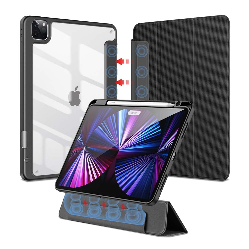 Tablet Case Magnetic Detachable Foldable Stand Holder Clear Sleeve with Pen Slot Shockproof Protecti