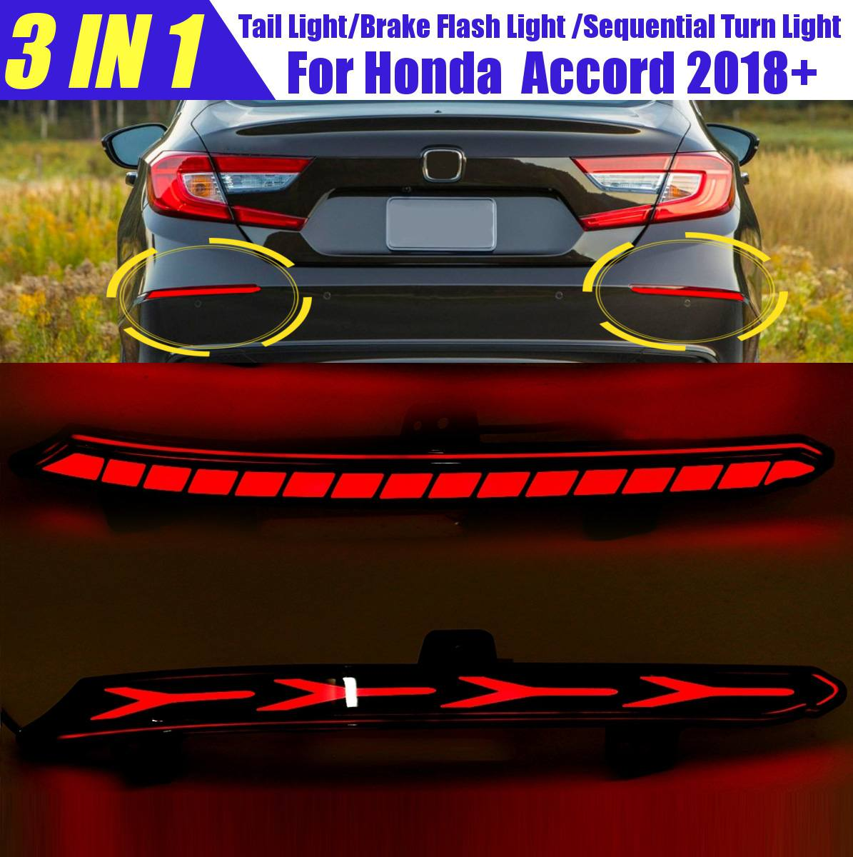 Led Rear Bumper Reflector Light for honda accord 2018 2019 2020 10th 10 Car Tail Light Brake Drivin Flow Turn Signal Light Smoke
