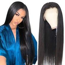 Frente reta do laço perucas de cabelo humano parte livre peruca de cabelo brasileiro 13*6 pré arrancado natural linha fina remy cabelo 180 densidade navio fre