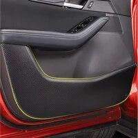 car door anti kick pad carbon fiber leather door protection film stickers for mazda cx30 cx 30 2020 2021 accessories