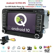 4G + 64G Android 10/8/Octa-Core 2DIN reproductor de DVD de coche para Seat Altea Leon Toledo VW golf Passat POLO 5 6 touran passat Radio Estéreo