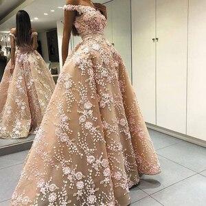 SuperKimJo Champagne Prom Dresses 2020 Off the Shoulder Floral Lace Applique Beaded Elegant V Neck Prom Gown 2021