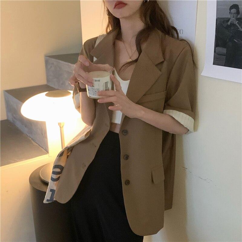 women blazer short sleeve clothes summer loose coat 6493#