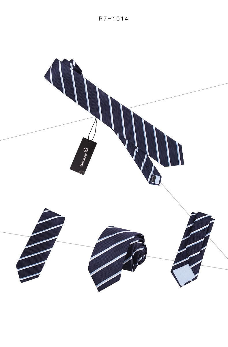 2020 Brand New Fashion High Quality Men 7CM Striped Blue Necktie Business Work Formal Suit Party Neck Tie for Men with Gift Box